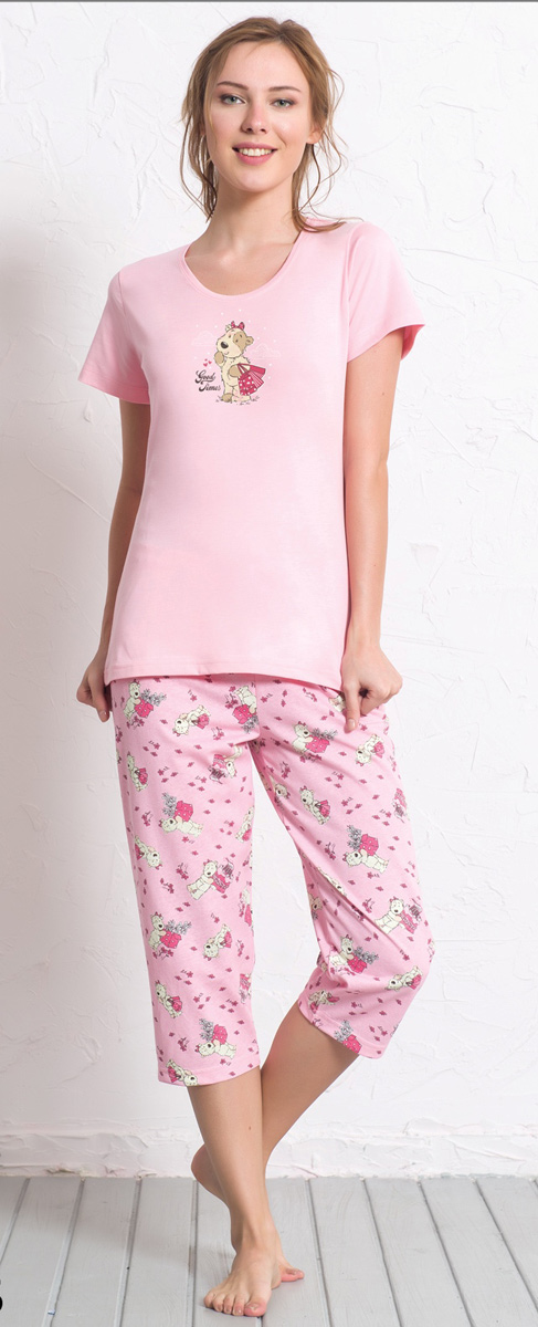 Комплект домашний женский Vienetta's Secret: футболка, капри, цвет: розовый. 608009 0323. Размер XL (50) капри