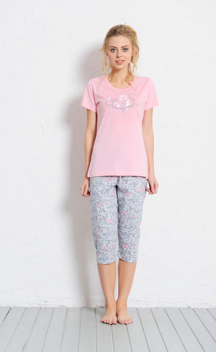 Комплект домашний женский Vienetta's Secret: футболка, капри, цвет: розовый, серый. 608053 0326. Размер XL (50) комплект домашний женский vienetta s secret футболка капри цвет синий 408052 4668 размер xl 50