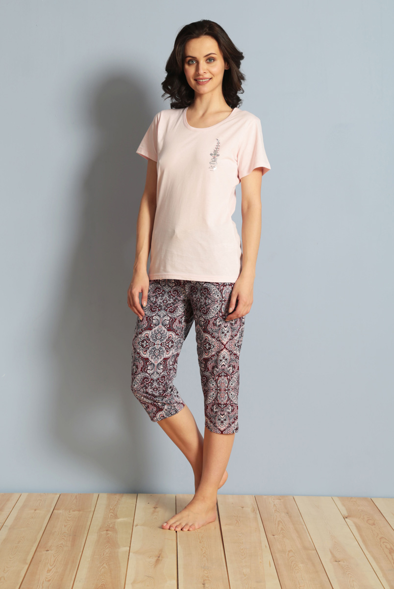 Комплект домашний женский Vienetta's Secret: футболка, капри, цвет: светло-розовый, серый. 610194 5433. Размер XL (50) капри apanage капри