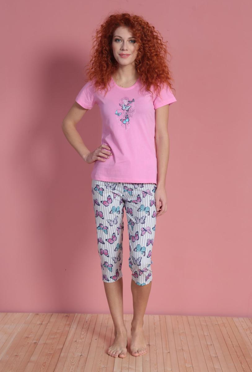 Комплект домашний женский Vienetta's Secret: футболка, капри, цвет: розовый, белый. 610325 1144. Размер L (48) капри apanage капри