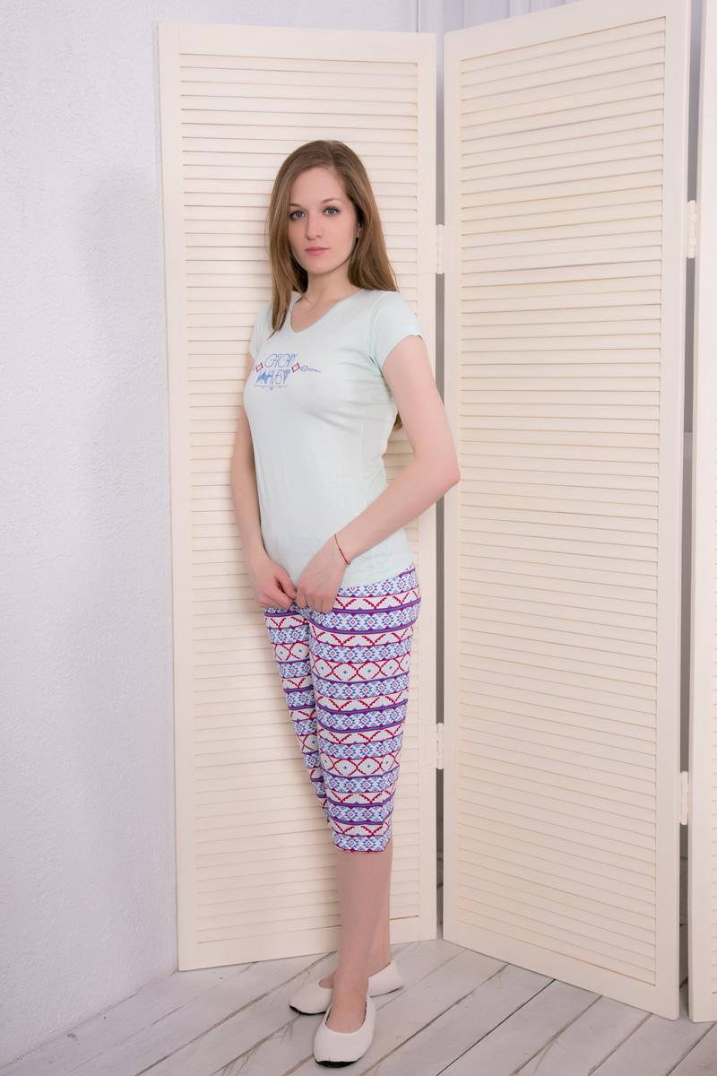 Комплект домашний женский Vienetta's Secret: футболка, капри, цвет: светло-бирюзовый, фиолетовый. 410038 4045. Размер XL (50) капри lafei nier бриджи и капри спортивные