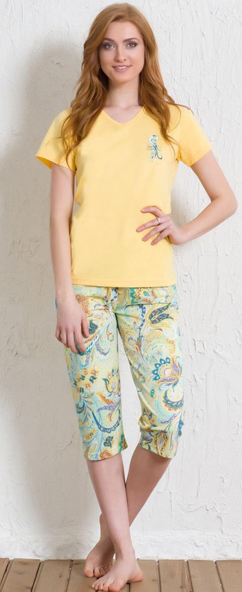 Комплект домашний женский Vienetta's Secret: футболка, капри, цвет: желтый, бирюзовый. 602137 5241. Размер XL (50) капри oodji капри