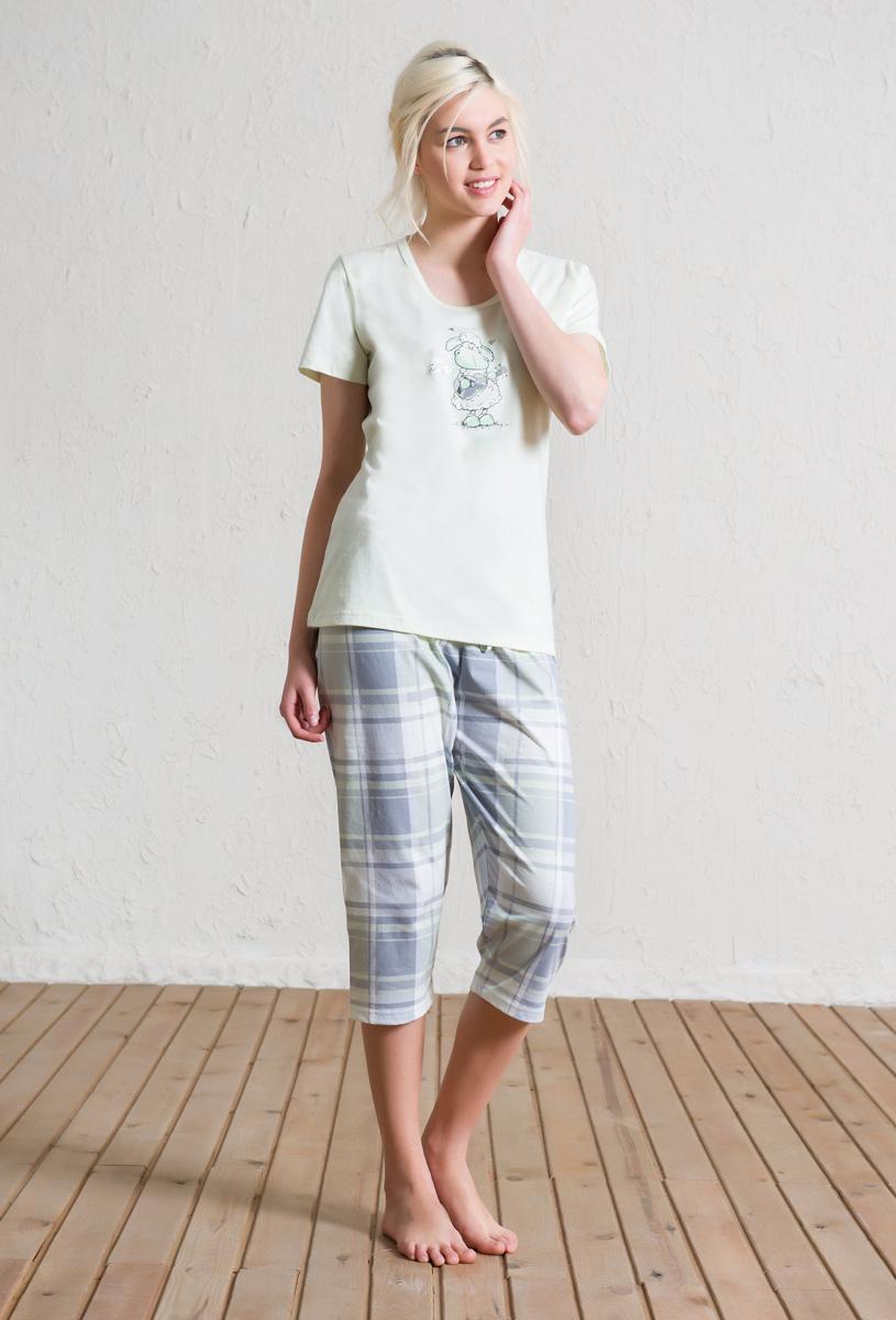Комплект домашний женский Vienetta's Secret: футболка, капри, цвет: светло-голубой. 602133 5286. Размер XL (50) капри lafei nier бриджи и капри спортивные