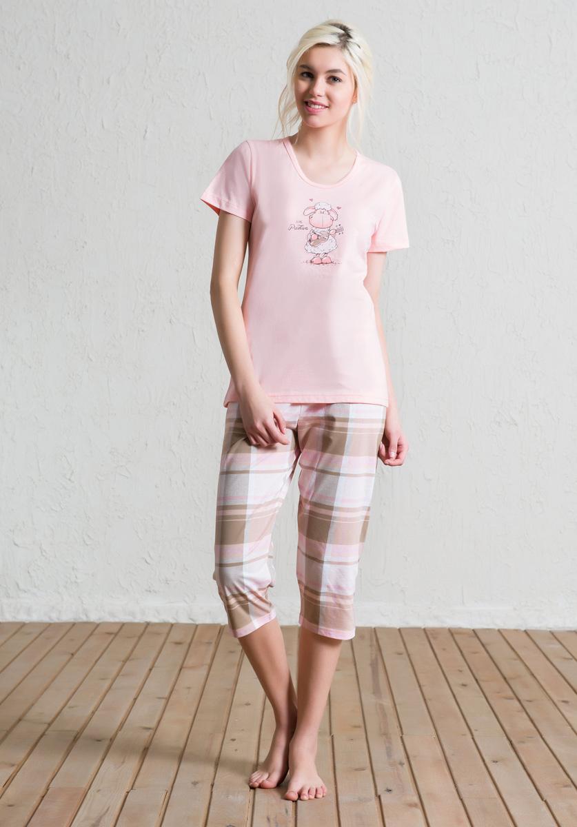 Комплект домашний женский Vienetta's Secret: футболка, капри, цвет: светло-розовый, бежевый. 602133 5286. Размер S (44) капри lafei nier бриджи и капри спортивные
