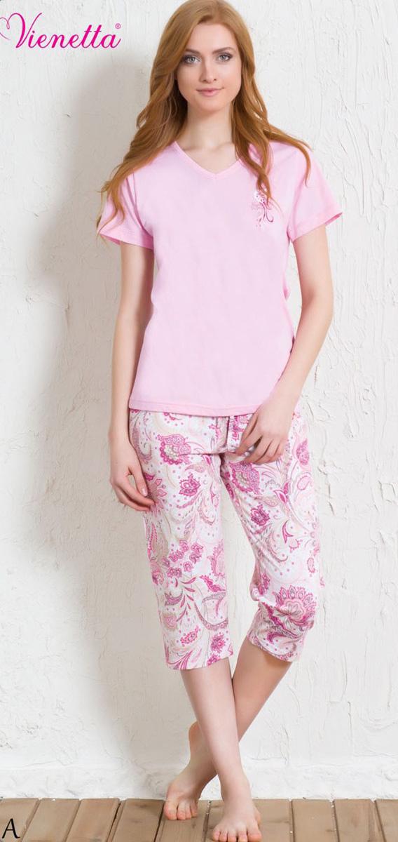 Комплект домашний женский Vienetta's Secret: футболка, капри, цвет: светло-розовый, белый. 602137 5241. Размер XL (50) капри apanage капри