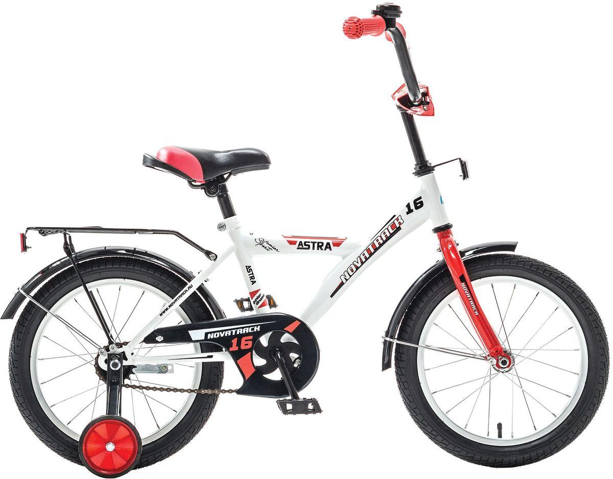 Велосипед детский Novatrack Astra, цвет: белый, красный, 16163ASTRA.WT5Хотите, чтобы ваш ребенок играя укреплял здоровье? Тогда ему нужен удобный и надежный велосипед Novatrack Astra 16, рассчитанный на ребят 5-7 лет. Одного взгляда ребенка хватит, чтобы раз и навсегда влюбиться в свой новенький двухколесный транспорт, который в принципе, сначала можно назвать и четырехколесным. Дополнительную устойчивость железному коню обеспечивают два маленьких съемных колеса в цвет велосипеда. Astra собрана на базе рамы с универсальной геометрией, которая позволяет легко взобраться или слезть с велосипеда, при этом он имеет такой вес, что ребенок сам легко справляется со своим транспортным средством. Еще один элемент безопасности – это защита цепи, которая оберегает одежду и ноги ребенка от попадания в механизм. Стильные крылья защитят от грязи и брызг, а на багажнике ребенок сможет перевозить массу полезных в дороге вещей. Данная модель маневренна и легко управляется, поэтому ребенку будет несложно и интересно учиться езде.