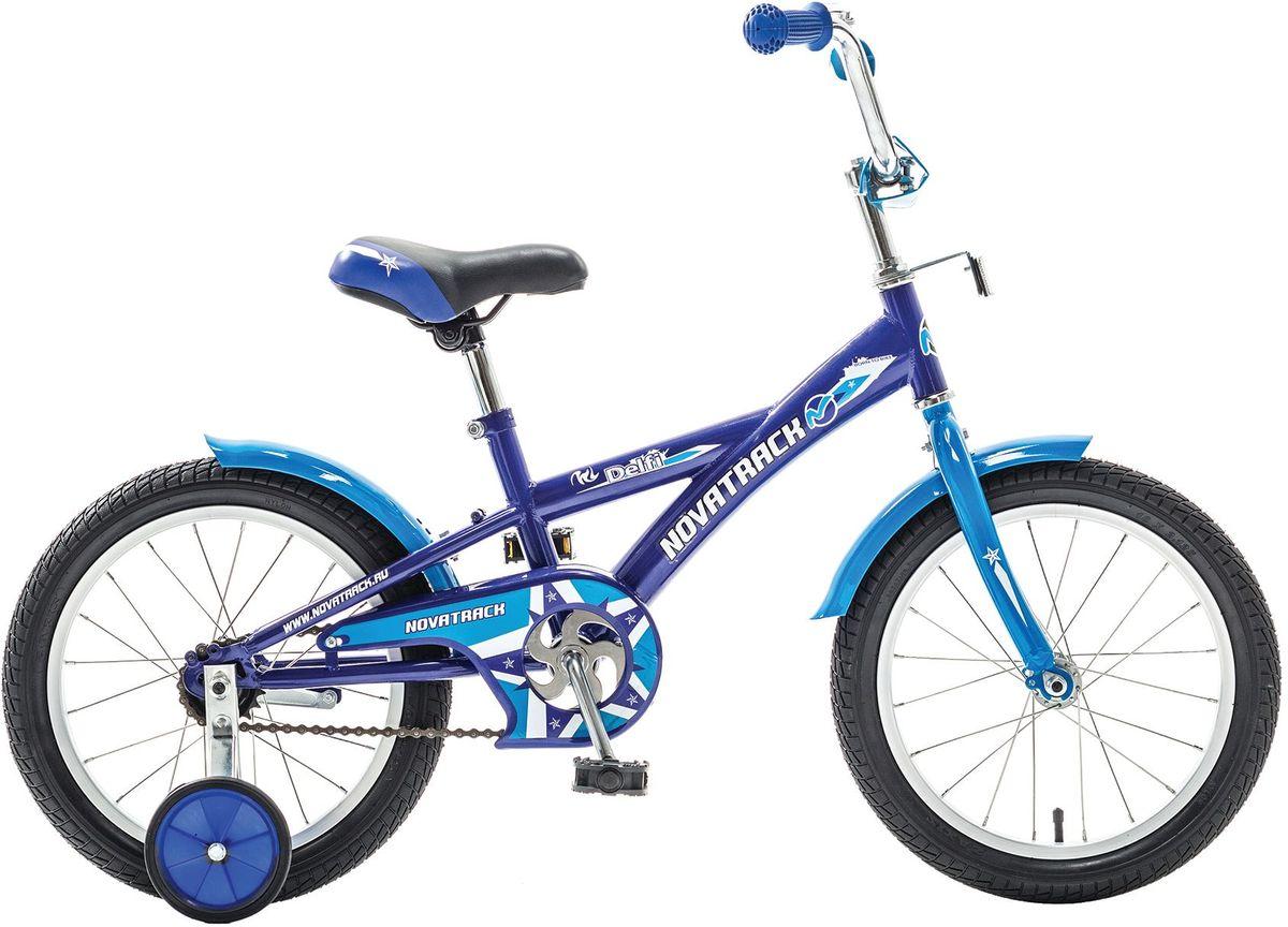 Велосипед детский Novatrack Delfi, цвет: синий, 16163DELFI.BL5Велосипед Novatrack Delfi c 16-дюймовыми колесами – это надежный велосипед для ребят от 5 до 7 лет. Привлекательный дизайн, надежная сборка, легкость и отличная управляемость – это еще не все плюсы данной модели. Цепь закрыта декоративной накладкой, которая защитит одежду и ноги ребенка от попадания в механизм. Данная модель специально разработана для легкого обучения езде на велосипеде. Низкая рама позволит ребенку быстро взбираться и слезать с велосипеда. Колеса закрыты крыльями, которые защитят ребенка от брызг. Велосипед оснащен дополнительными колесами, которые легко регулируются и снимаются в случае необходимости.Какой велосипед выбрать? Статья OZON Гид