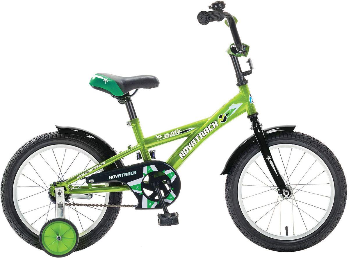 Велосипед детский Novatrack Delfi, цвет: зеленый, черный, 16163DELFI.GN5Велосипед Novatrack Delfi c 16-дюймовыми колесами – это надежный велосипед для ребят от 5 до 7 лет. Привлекательный дизайн, надежная сборка, легкость и отличная управляемость – это еще не все плюсы данной модели. Цепь закрыта декоративной накладкой, которая защитит одежду и ноги ребенка от попадания в механизм. Данная модель специально разработана для легкого обучения езде на велосипеде. Низкая рама позволит ребенку быстро взбираться и слезать с велосипеда. Колеса закрыты крыльями, которые защитят ребенка от брызг. Велосипед оснащен дополнительными колесами, которые легко регулируются и снимаются в случае необходимости.