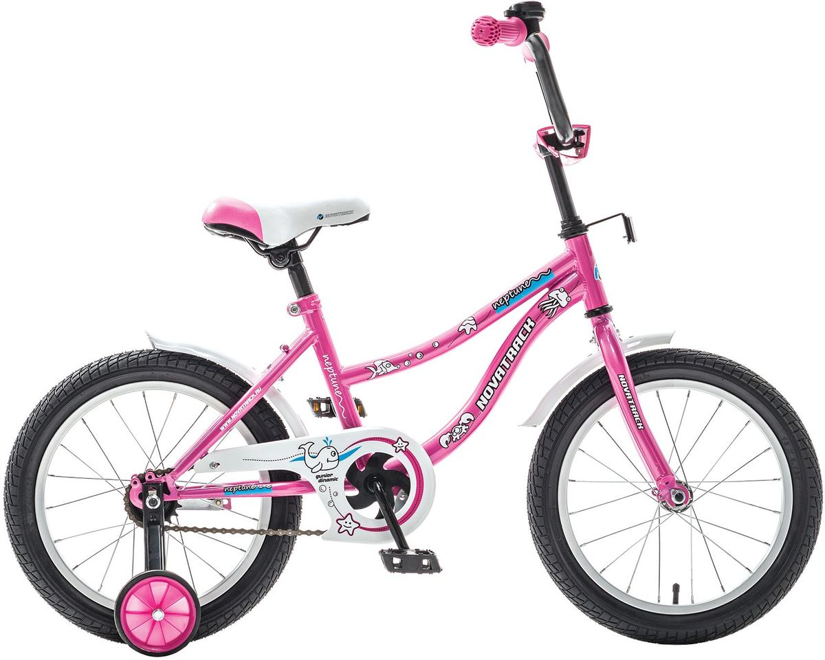 Велосипед детский Novatrack Neptune, цвет: розовый, белый, 16163NEPTUN.PN5Novatrack Neptune 16'' – это отличный подарок для ребенка 5-7 лет. Эта модель объединяет в себе привлекательный дизайн, легкость, отличную управляемость и универсальность. Ваш ребенок будет просто счастлив, став обладателем такой замечательной техники. Novatrack Neptune 16'' полностью подготовлен для того, чтобы маленьким велосипедистам было комфортно и интересно учиться самостоятельно кататься. Яркий дизайн, регулируемые сидение и руль с надежной фиксацией, защита цепи, велосипедный звонок, мягкие накладки на руле, катафоты, стильные укороченные крылья - все продумано до мелочей.