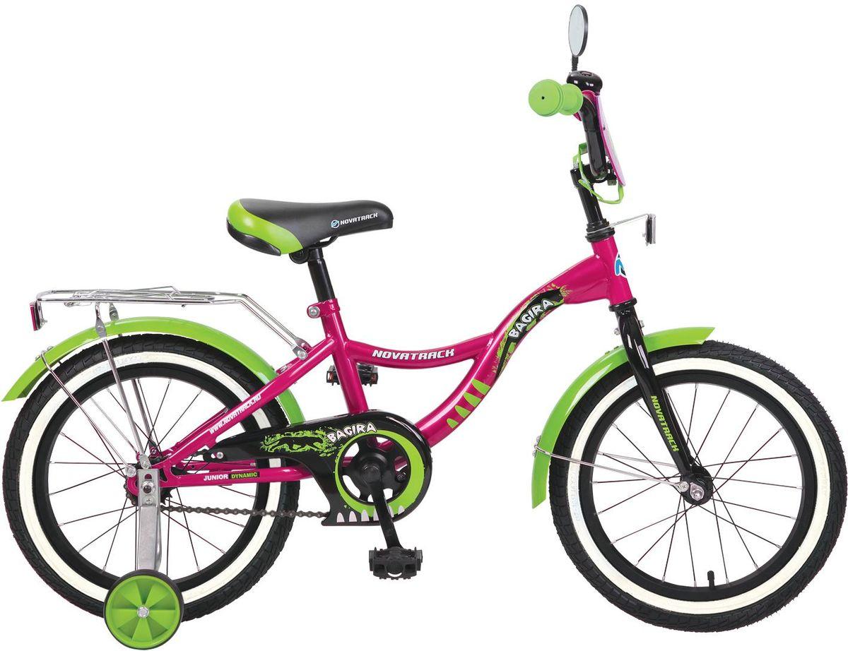 Велосипед детский Novatrack Багира, цвет: розовый, зеленый, 16167BAGIRA.PN6Novatrack Багира с 16-дюймовыми колесами - это современный, удобный и безопасный велосипед для девочек от 5 до 7 лет. Велосипед укомплектовали мягким регулируемым седлом, которое обеспечит удобную посадку во время катания. Руль велосипеда также регулируется по высоте и наклону, благодаря чему велосипед прослужит ребенку не один год. Данная модель маневренна и легка в управлении, поэтому ребенку будет просто и интересно учиться кататься на велосипеде. По бокам имеются съемные дополнительные колеса, которые нужны до тех пор, пока ребенок не почувствует себя уверенно. Быстро затормозить поможет ножной тормоз. Для перевозки девчачьих аксессуаров и всяких нужностей велосипед оснастили багажником. На руле установлен звонкий гудок, декоративный щиток и зеркальце, без которого не может обойтись ни одна модница. Над колесами располагаются стальные крылья, которые защитят от брызг и грязи.Какой велосипед выбрать? Статья OZON Гид