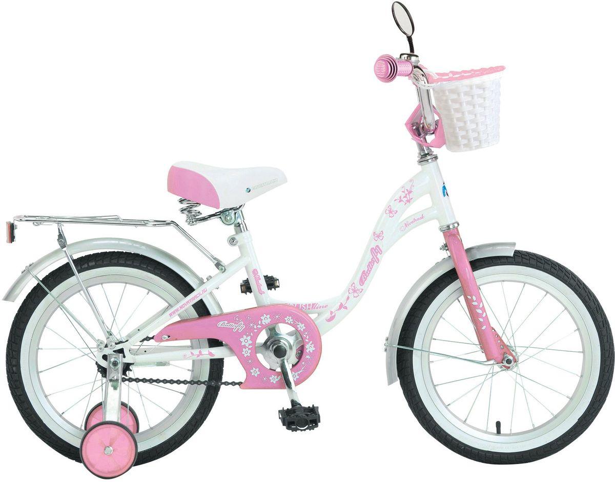 Велосипед детский Novatrack Butterfly, цвет: белый, 16167BUTTERFLY.WPR7Велосипед Novatrack Butterfly 16-это велосипед для юных принцесс 5-7 лет. Эта модель оснащена всем необходимым, для того, чтобы ребенок мог отправиться в увлекательное путешествие.Во-первых, на руле имеется зеркальце. А как без него юной леди. Ей же нужно быть уверенной в том, что бантик на голове смотрится отлично.Во-вторых, там же установлен великолепный гудок в стиле ретро, при помощи которого маленькая велосипедистка сможет вовремя сообщить зазевавшимся карапузам, что она тут катается. В-третьих, впереди прикреплена вместительная корзинка, куда можно сложить все необходимое. Для устойчивости конструкции к заднему колесу добавлены еще 2 маленьких съемных колесикаупасть с такого велосипеда практически невозможно даже на крутом вираже. Сиденье и руль легко регулируются по высоте и надежно фиксируются. Для безопасности также установлена защита цепи, а на колесах имеются крылья и катафоты.Велосипед оборудованзадним ножным тормозом, позволяющими при необходимости мгновенно остановиться.