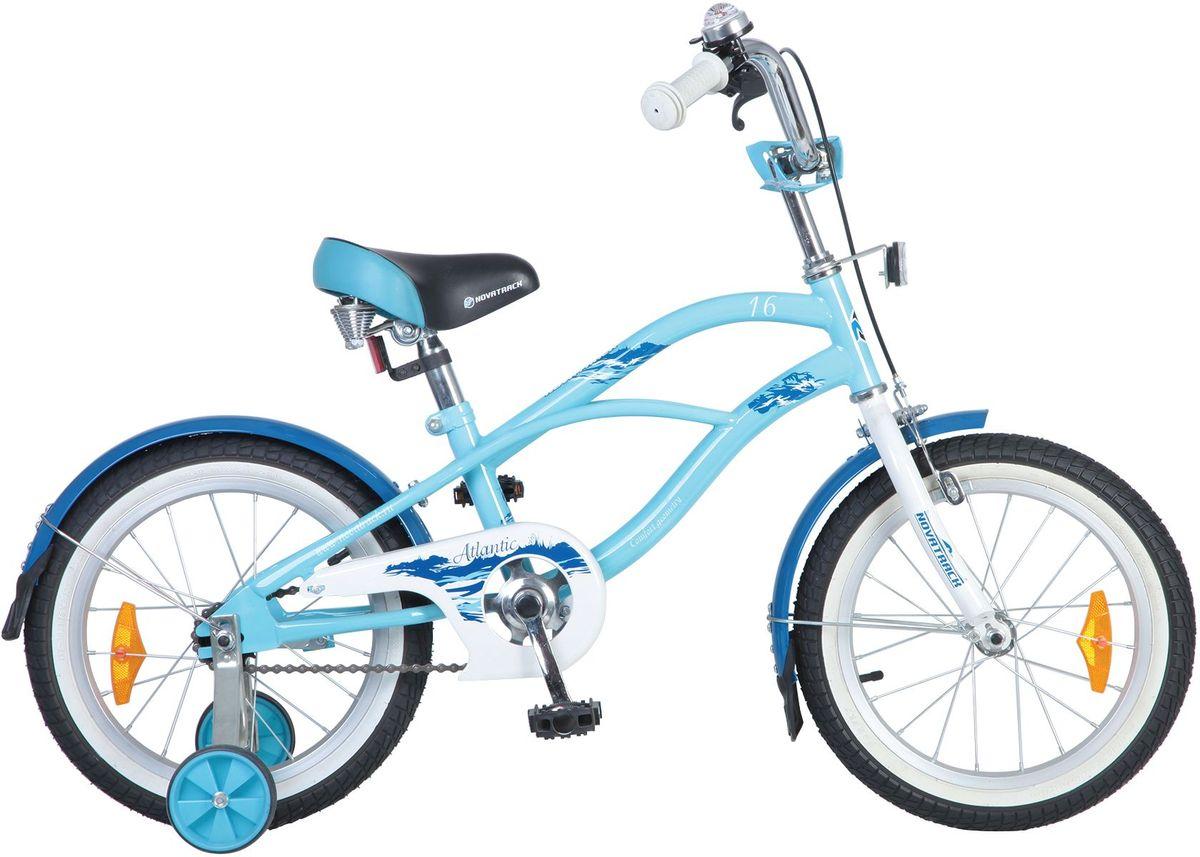 Велосипед детский Novatrack Atlantic, цвет: голубой, синий, 16167CRUISER.BE5Велосипед Novatrack Atlantic с колесами 16 - это уменьшенная копия стильного городского комфортного велосипеда. Особенность этой модели - стальная классическая рама, обеспечивающая максимально удобную посадку. Широкое сидение оборудовано пружинами и регулируется по высоте, так же как и руль, благодаря чему велосипед будет служить вашему ребенку несколько сезонов. Кожух цепи полностью закрывает цепной механизм - это значит, что кататься ребенок сможет в любой свободной одежде, не опасаясь за ее чистоту и безопасность. Защитить одежду от внезапной лужи помогут удлиненные крылья - ведь мало кто ребят устоит от желания устроить проверку на проходимость своему велосипеду, подражая большим рычащим внедорожникам.Какой велосипед выбрать? Статья OZON Гид