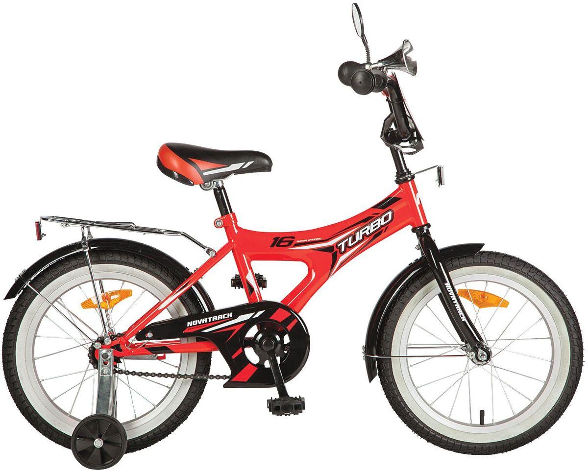 Велосипед детский Novatrack Turbo, цвет: красный, черный, 16