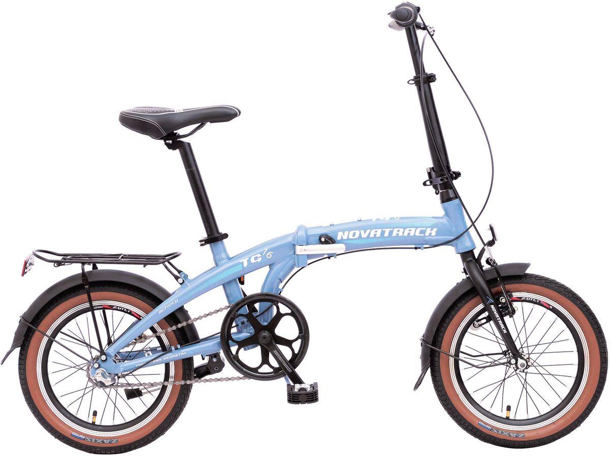 Велосипед детский Novatrack TG-16, цвет: синий, черный, 1616FATG3NV.GR6Складной велосипед Novatrack TG-16это практичный складной велосипед, который отличается своей простотой управления, компактностью и универсальностью. Небольшой диаметр колеса велосипеда позволяет поместить его на балконе, в шкафу или перевести в багажнике автомобиля. Велосипед оснащен переключением скоростей, оптимизированным планетарной втулкой, которая установлена на оси заднего колеса. Планетарная втулка, по сравнению с другими системами переключения скоростей, отличается высокой надежностью. Рама велосипеда очень прочная, так как выполнена из высококачественного алюминиевого сплава. но в тоже время легкая, поэтому катание на таком велосипедеодно удовольствие. Быстро и просто остановиться в любой ситуации поможет передний ручной и задний ножной тормоз.