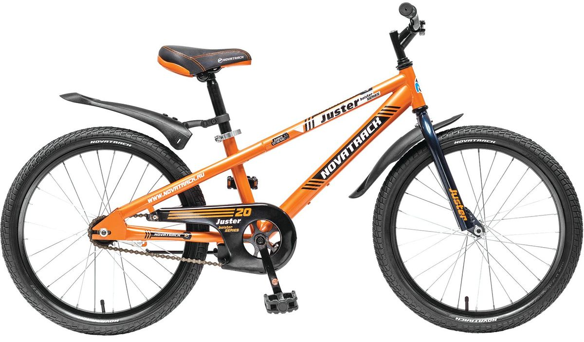 Велосипед детский Novatrack Juster, цвет: оранжевый, черный, 20 детский велосипед novatrack fr 10 20 green