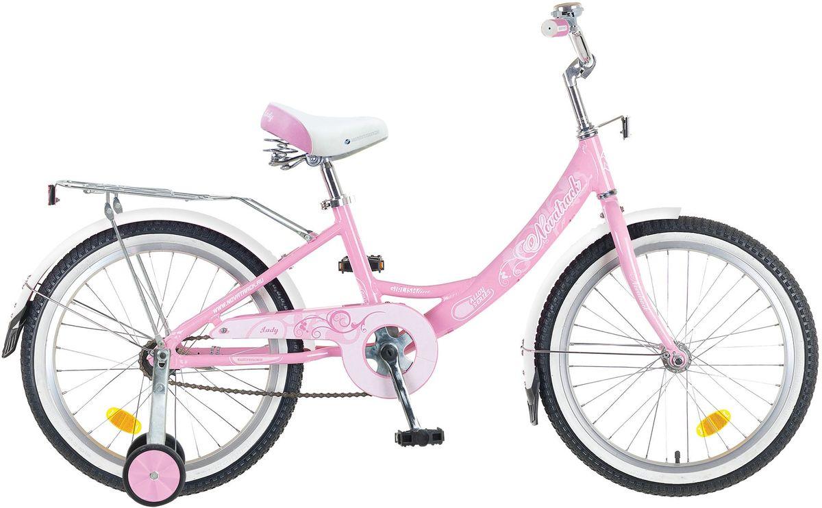 Велосипед детский Novatrack Girlish Line, цвет: розовый, белый, 20