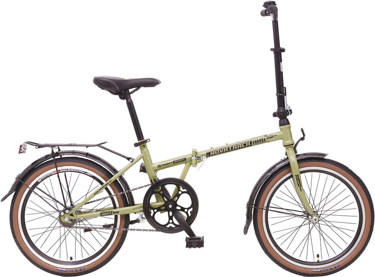 Велосипед складной Novatrack Aurora, цвет: зеленый, черный, 20