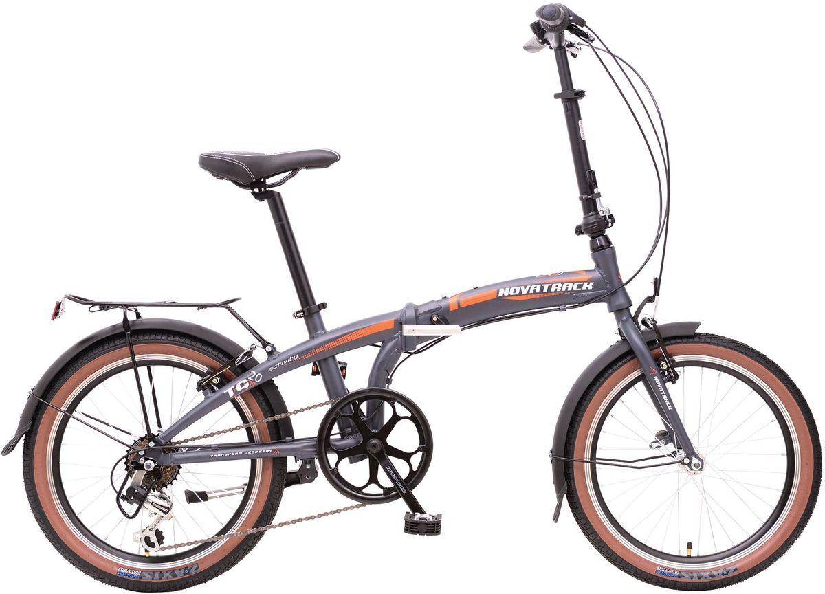 Велосипед складной Novatrack TG-20, цвет: темно-серый, белый, оранжевый, 20 novatrack novatrack велосипед action 20 shimano 6 скоростей белый