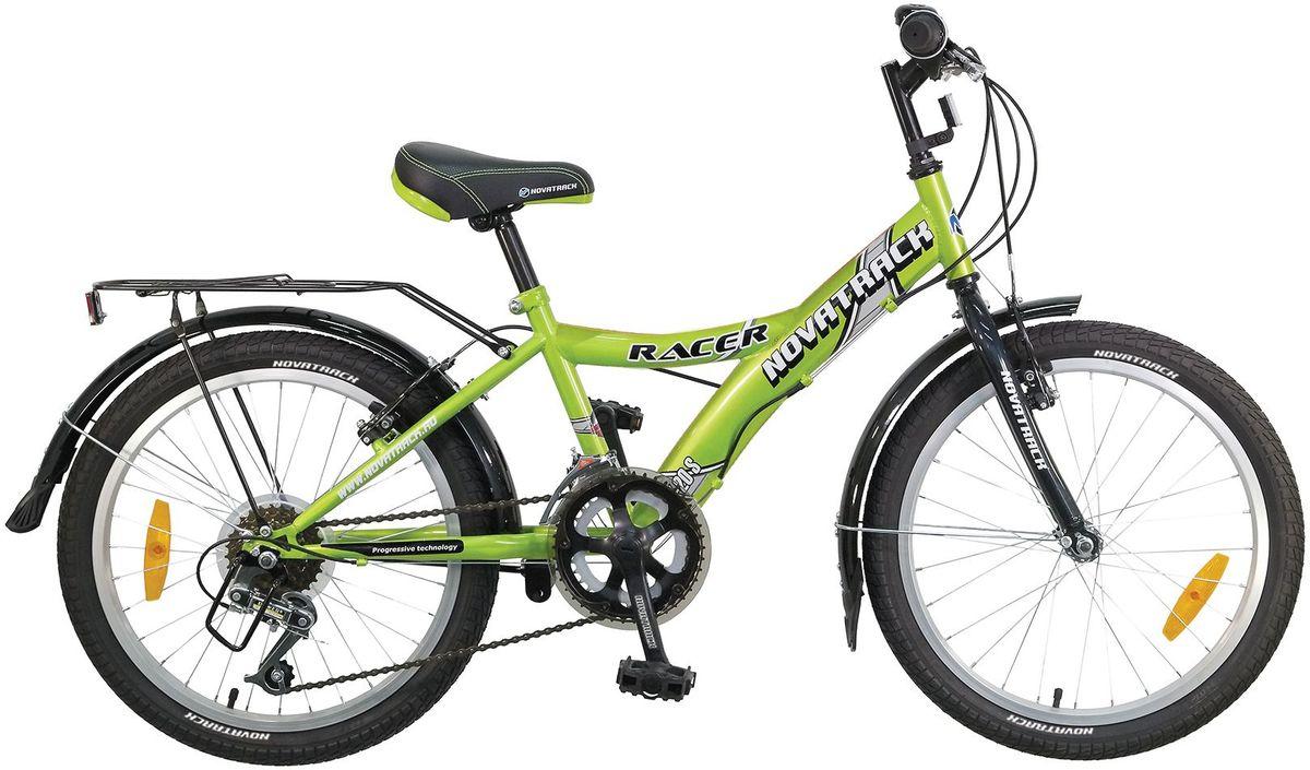 Велосипед детский Novatrack Racer, цвет: зеленый, 20