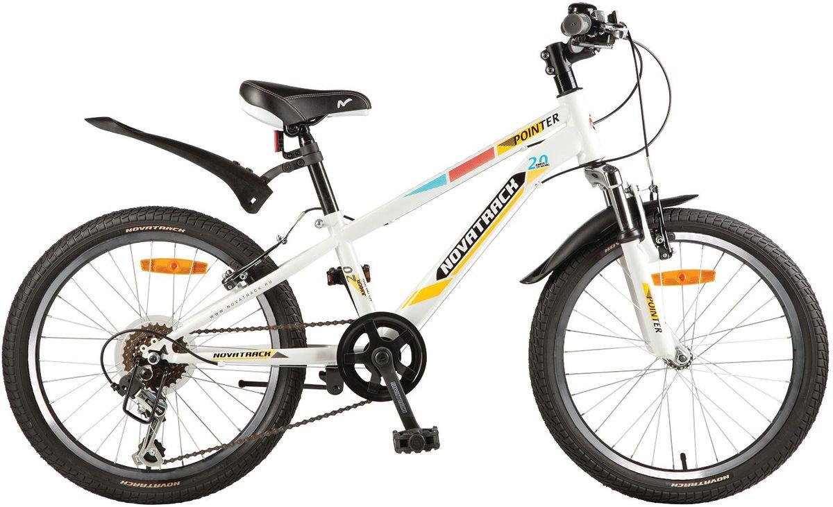 Велосипед детский Novatrack Pointer, цвет: белый, желтый, 20 детский велосипед novatrack х21010 taxi yellow