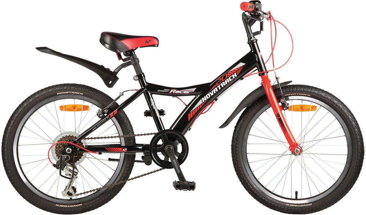 Велосипед детский Novatrack Racer, цвет: черный, красный, 2020SH6V.RACER.BK7Велосипед Novatrack Racer это один из лучших велосипедов для ребят 7-10 лет. Привлекательный дизайн, надежная сборка, легкость и отличная управляемость это еще не все плюсы данной модели. Низкая рама разработана таким образом, что ребенку очень легко взбираться и слезать с велосипеда, да и спрыгивать тоже, в случае непредвиденных обстоятельств во время катания. Велосипед полностью укомплектован и обязательно понравится маленькому велосипедисту тормоза: типа V-brake, переключение скоростей, а их, между прочим, целых 6, багажник для перевозки небольших грузов, блестящие катафоты, агрессивные пластиковые крылья.Какой велосипед выбрать? Статья OZON Гид