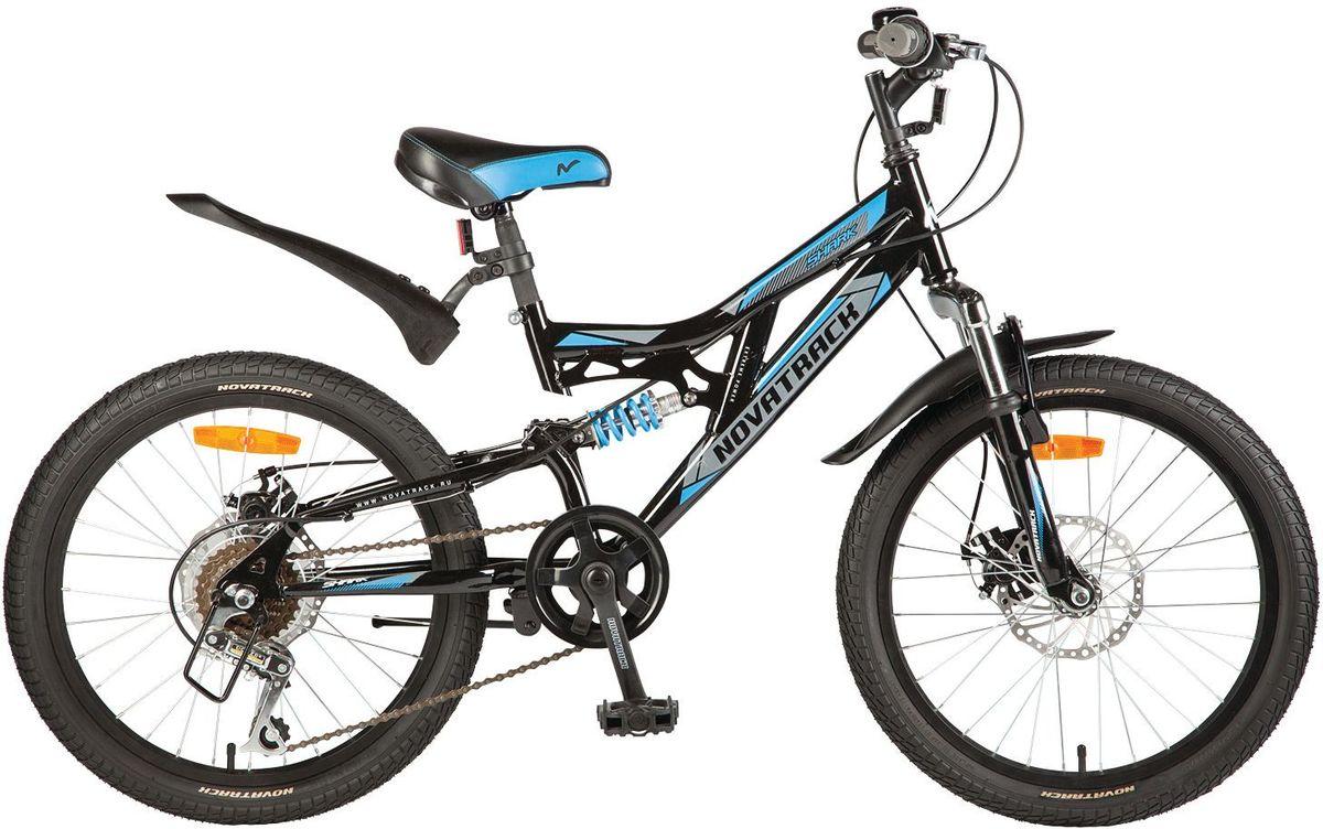 Велосипед детский Novatrack Shark, цвет: черный, синий, 2020SS6D.SHARK.BK7Велосипед Novatrack Shark - это мечта любого мальчишки 7-10 лет. Это легко управляемый велосипед-двухподвес, который станет предметом гордости и постоянным спутником во время летних прогулок. Велосипед укомплектован по полной программе: передний и задний амортизаторы, 6 скоростей, надежные тормоза типа V-brake, катафоты и крылья. Он оснащен мягким регулируемым седлом, которое обеспечит удобную посадку во время катания. Руль велосипеда также регулируется по высоте, благодаря чему он долго будет соответствовать росту ребенка. Novatrack Shark отлично подойдет для катания не только во дворе, но и в парках, а также за городом.