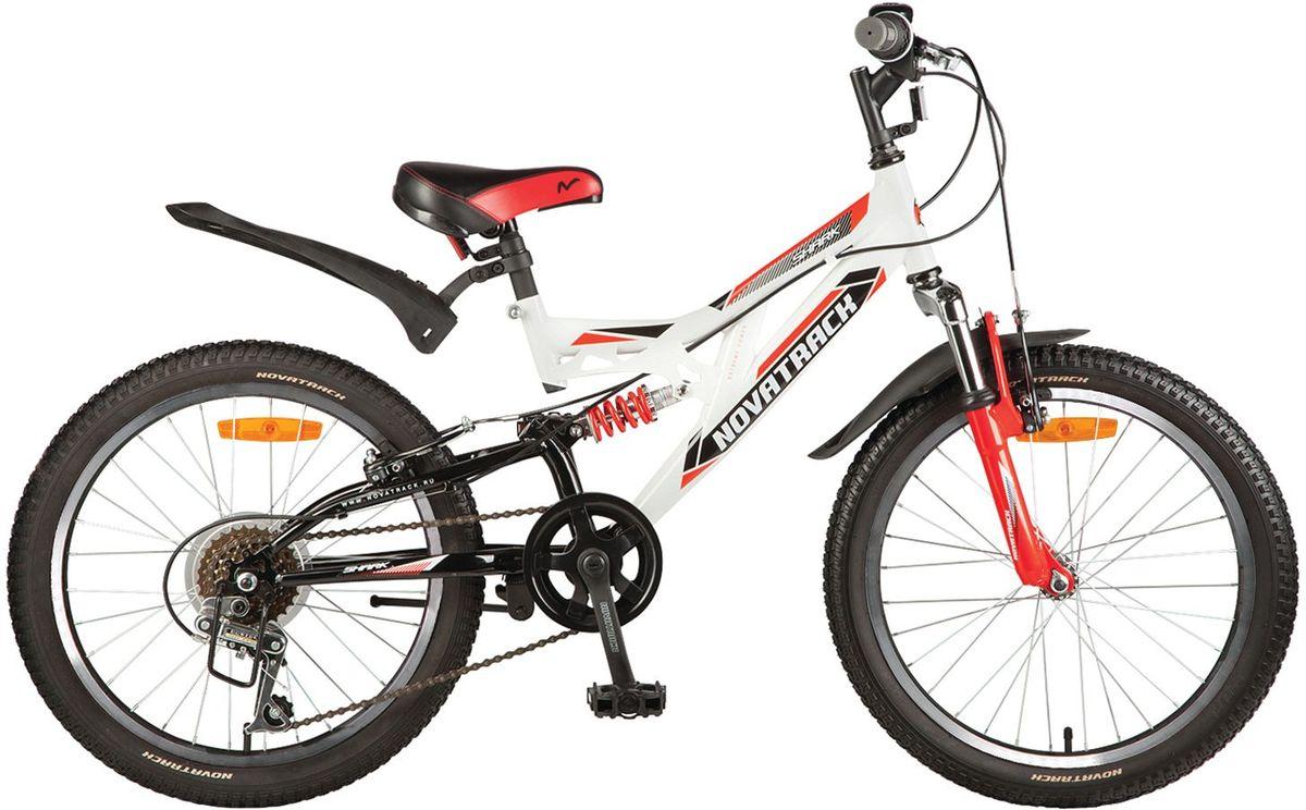 Велосипед детский Novatrack Shark, цвет: белый, красный, черный, 2020SS6V.SHARK.WT7Велосипед Novatrack Shark – это мечта любого мальчишки 7-10 лет. Это легко управляемый велосипед-двухподвес, который станет предметом гордости и постоянным спутником во время летних прогулок. Велосипед укомплектован по полной программе: передний и задний амортизаторы, 6 скоростей, надежные тормоза типа V-brake, катафоты и крылья. Он оснащен мягким регулируемым седлом, которое обеспечит удобную посадку во время катания. Руль велосипеда также регулируется по высоте, благодаря чему он долго будет соответствовать росту ребенка. Novatrack Shark отлично подойдет для катания не только во дворе, но и в парках, а также за городом.Какой велосипед выбрать? Статья OZON Гид