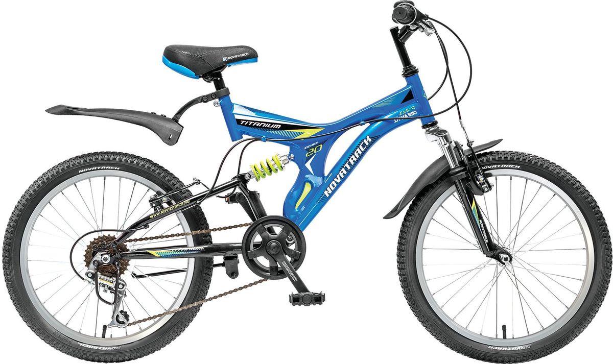 Велосипед детский Novatrack Titanium, цвет: синий, 2020SS6V.TITANIUM.BL5Novatrack Titanium - это модель для ребят 7-10 лет, которые уже неодобрительно относится к детским велосипедам и засматриваются на большие горные. На 20-дюймовых колесах можно кататься не только во дворе, но и по более сложным маршрутам, ухабистым парковым тропинкам, небольшим горкам, где езда без амортизаторов была бы не простой. Велосипед оснащен передним и задним ручным тормозом, которые при синхронной работе обеспечивают наилучшее торможение при спуске с наклонной поверхности, а одна из 6 скоростей помогает легко преодолеть сложный подъем. Переключение передач очень нравится мальчишкам: это атрибут велосипедов для знатоков велоспорта, коим ваше чадо быстрее мечтает стать, еще ребенок учится анализировать ситуацию и выбирать соответствующую скорость для комфортной езды. С велосипедом Novatrack Titanium ваш ребенок точно не засидится дома, а будет активно двигаться на свежем воздухе, эффективно укрепляя мышцы, совершенствуя ловкость и повышая иммунитет.я иммунитет.