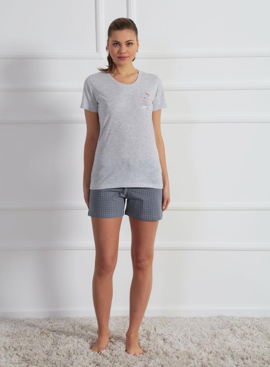 Комплект домашний женский Vienetta's Secret: футболка, шорты, цвет: серый меланж. 610223 0352. Размер XL (50) поехали