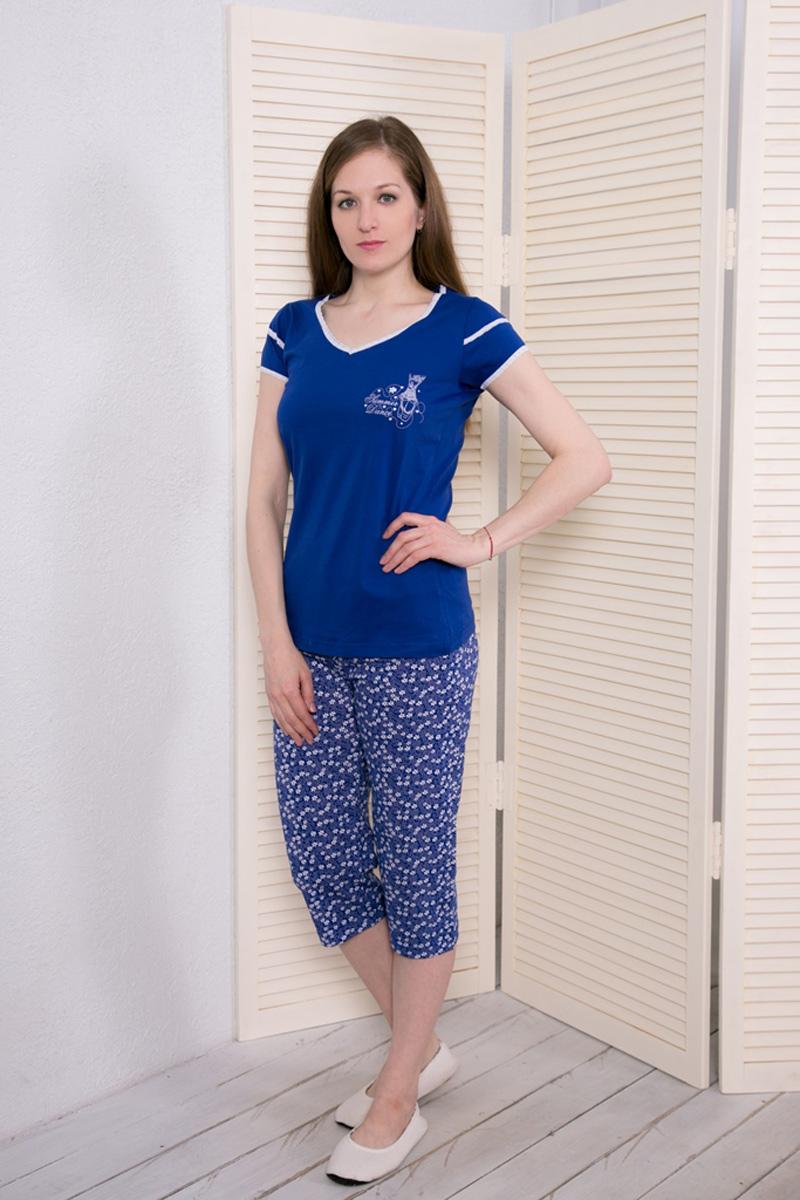 Комплект домашний женский Vienetta's Secret: футболка, капри, цвет: синий. 408052 4668. Размер XL (50) капри oodji капри