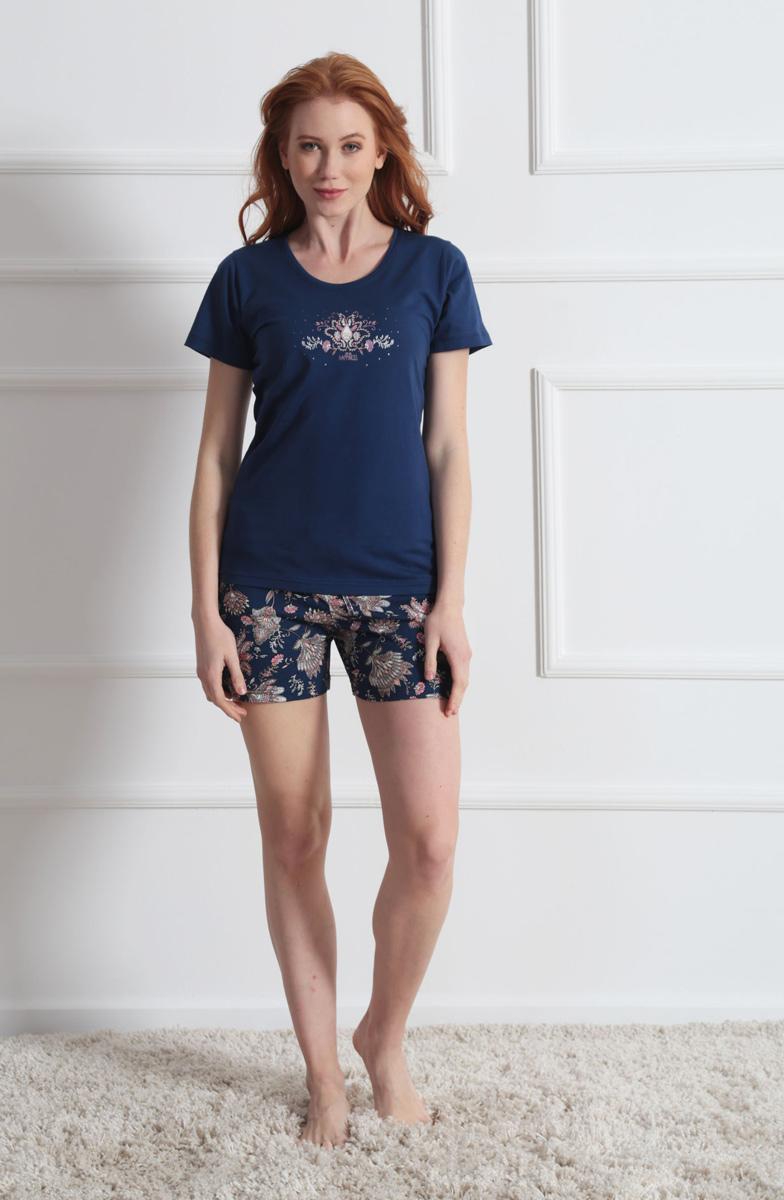 Комплект домашний женский Vienetta's Secret: футболка, шорты, цвет: темно-синий, бежевый. 610020 7004. Размер L (48) домашний комплект женский sevim топ шорты цвет кремовый 10281 sv размер l 44 46