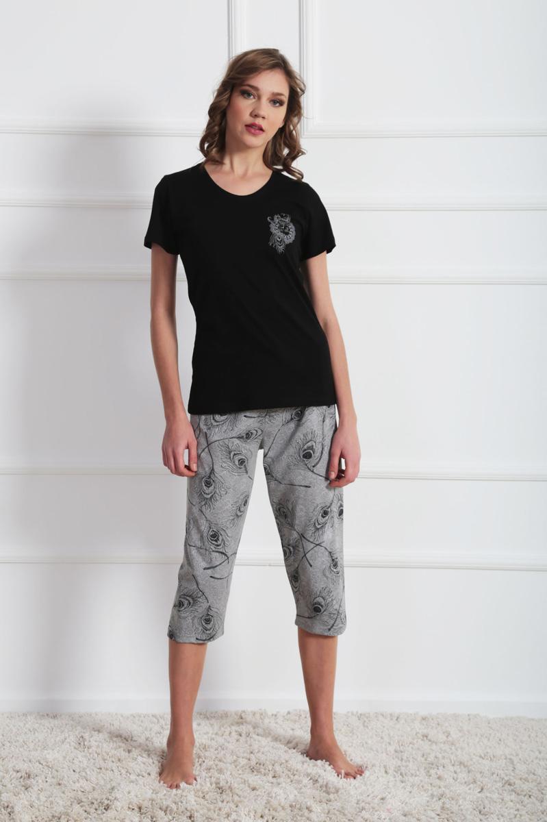 Комплект домашний женский Vienetta's Secret: футболка, капри, цвет: черный, серый. 609144 0721. Размер M (46) капри apanage капри