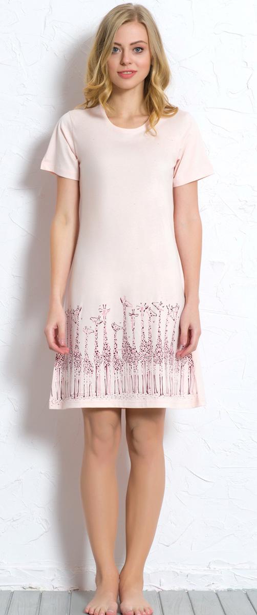 Платье домашнее Vienettas Secret, цвет: светло-розовый. 608129 0000. Размер M (46)608129 0000Домашнее платье Vienettas Secret выполнено из 100% натурального хлопка. Изделие имеет круглый вырез горловины, короткие стандартные рукава и длину чуть выше колена. Модель прямого кроя не стесняет движений и комфортна для домашней носки. Подол дополнен изображением жирафов.