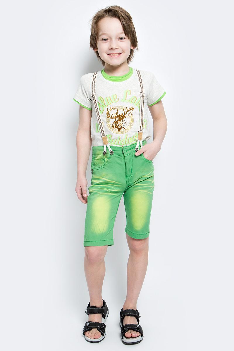 Шорты для мальчика Nota Bene, цвет: зеленый. SS161B416-13. Размер 110SS161B416-13Удобные шорты для мальчика Nota Bene идеально подойдут вашему маленькому моднику. Изготовленные из эластичного хлопка, они не сковывают движения, сохраняют тепло и позволяют коже дышать, обеспечивая наибольший комфорт.Шорты застегиваются на пуговицу в поясе, также имеются шлевки для ремня и ширинка на застежке-молнии. Объем пояса регулируется изнутри при помощи эластичной резинки с пуговицами. Спереди модель дополнена двумя втачными карманами и накладным кармашком, а сзади - двумя накладными карманами. Оформлено изделие перманентными складками и легким эффектом потертости. В комплект входят стильные съемные подтяжки, фиксирующиеся при помощи пуговиц. Практичные и стильные шорты идеально подойдут вашему малышу, а модная расцветка и высококачественный материал позволят ему комфортно чувствовать себя в течение дня и всегда оставаться в центре внимания!
