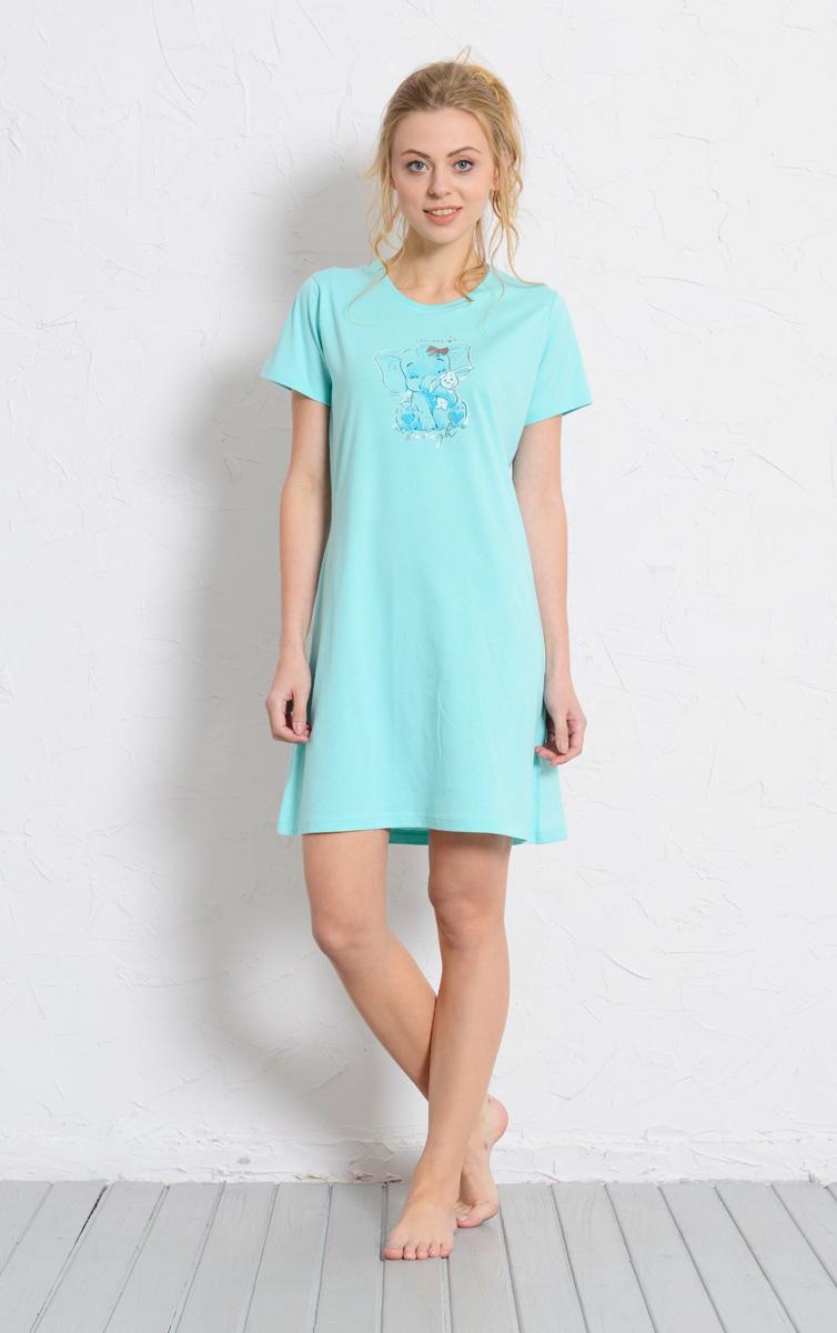 Платье домашнее Vienetta's Secret, цвет: светло-бирюзовый. 608126 0000. Размер XL (50) платье домашнее женское vienetta s secret цвет светло бирюзовый 612122 0000 размер s 44