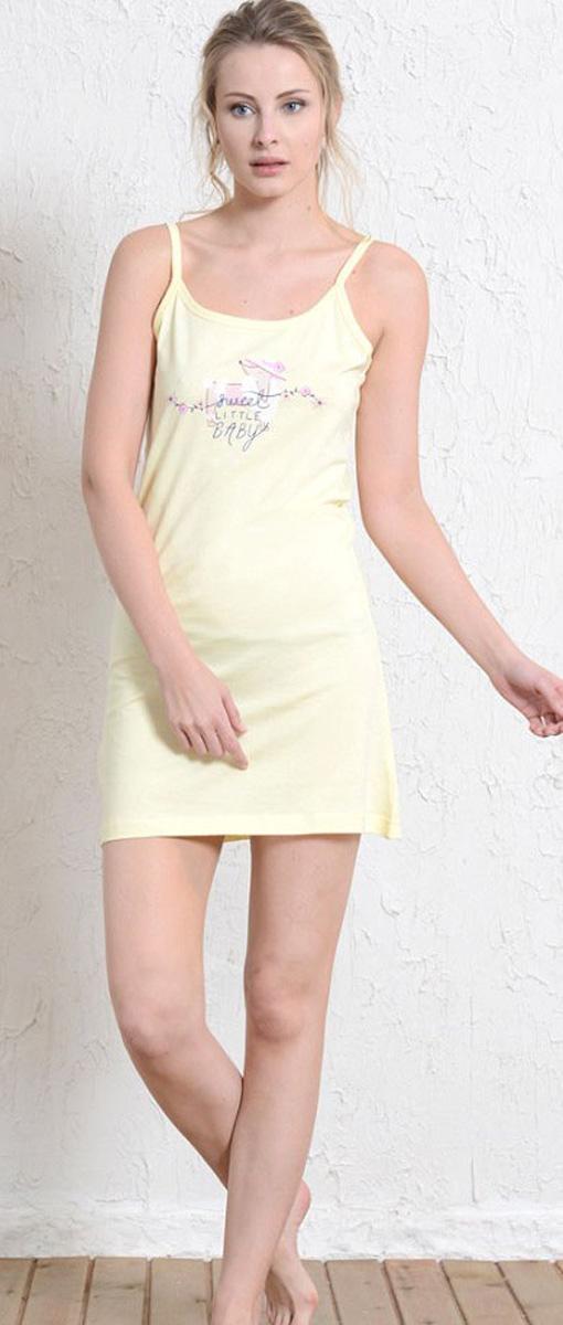 Платье домашнее Vienettas Secret, цвет: светло-желтый. 409183 4011. Размер XL (50)409183 4011Домашнее платье Vienettas Secret выполнено из 100% натурального хлопка. Изделие на бретельках имеет декольте с круглым вырезом и длину мини. Модель не стесняет движений и комфортна для домашней носки. Платье выполнено в однотонном дизайне и дополнено надписями.