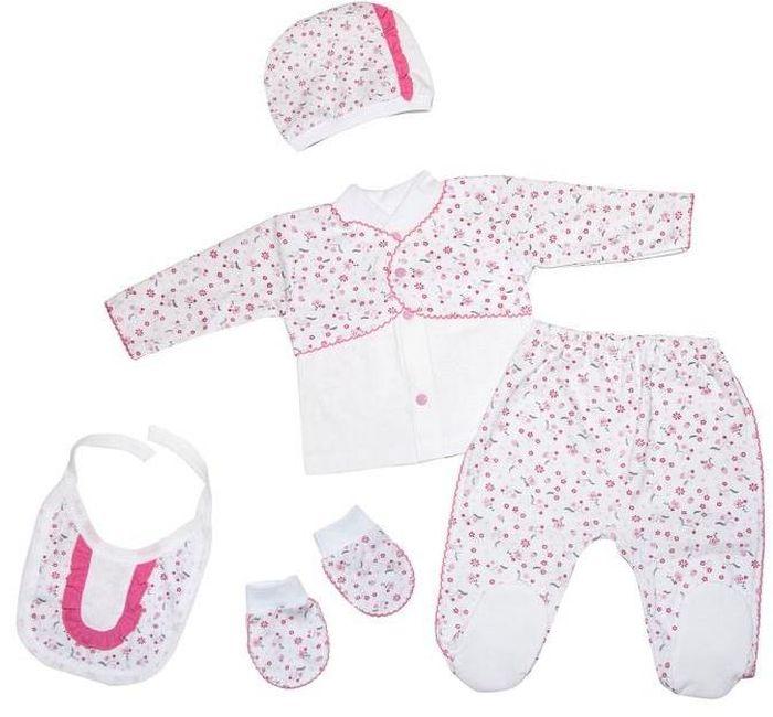 Комплект для девочки Клякса, цвет: белый, розовый, 5 предметов. 10-5062. Размер 62 комплекты детской одежды клякса комплект для девочки из кофточки и ползунков
