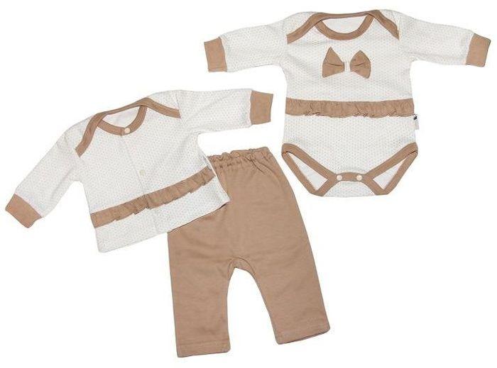 Комплект для девочки Клякса: боди, кофточка, брюки, цвет: экрю, бежевый. 33с-3173. Размер 80 кофточка apart кофточка