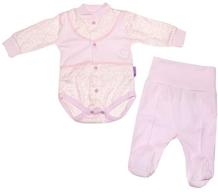 Комплект для девочки Клякса: боди, ползунки, цвет: экрю, розовый. 33к-5197. Размер 80 комбинезон ползунки боди mil