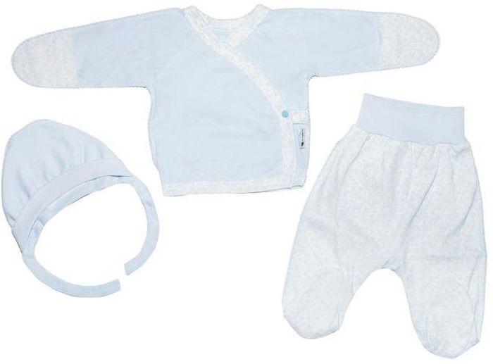 Комплект для мальчика Клякса: кофточка, ползунки, чепчик, цвет: экрю, голубой. 33к-5182. Размер 62