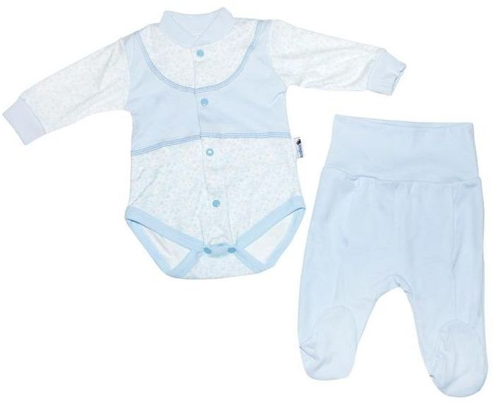 Комплект для мальчика Клякса: боди, ползунки, цвет: экрю, голубой. 33к-5197. Размер 80 комбинезон ползунки боди mil