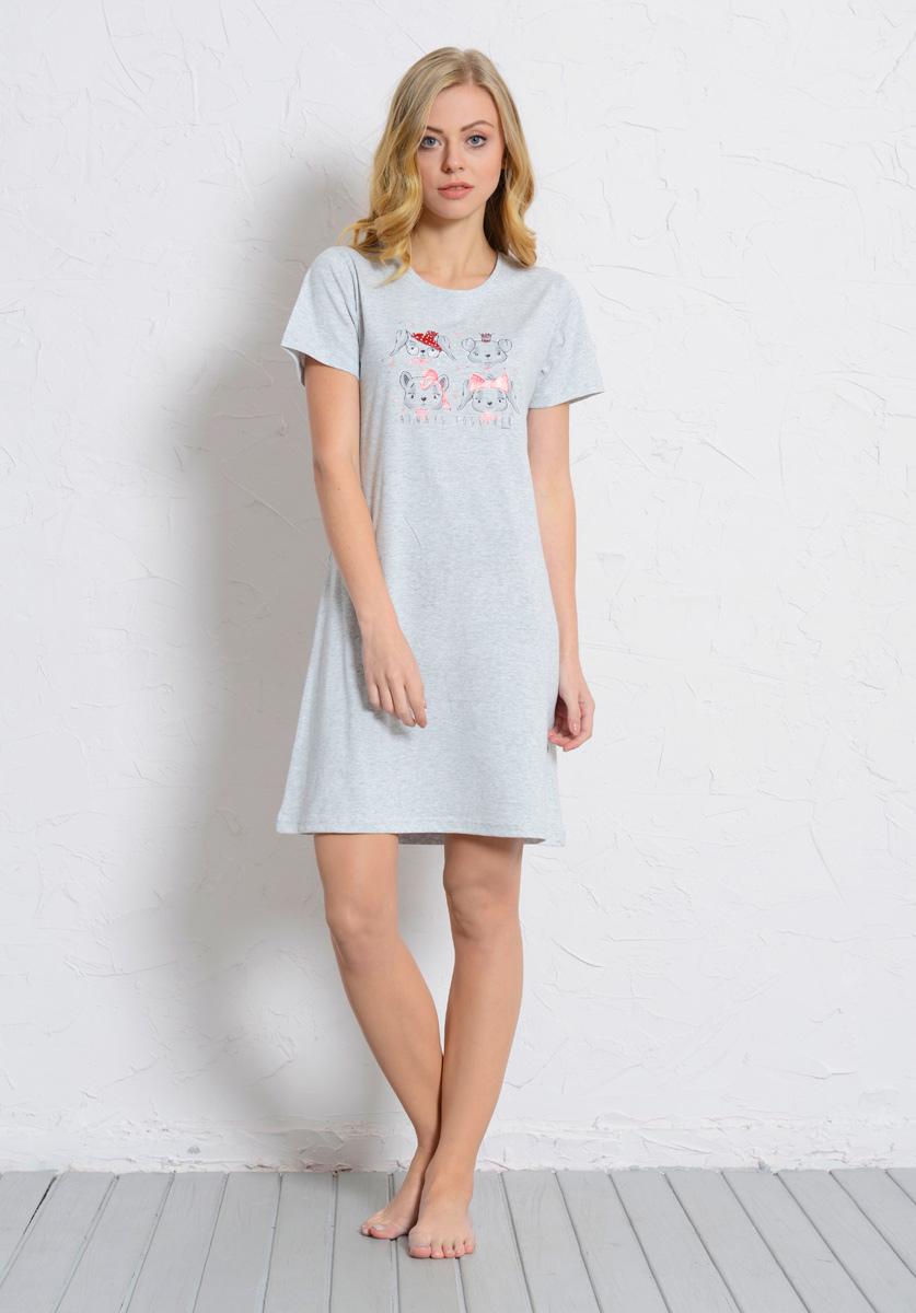 Платье домашнее Vienetta's Secret, цвет: серый меланж. 608131 0000. Размер XL (50) платье домашнее женское vienetta s secret цвет светло бирюзовый 612122 0000 размер s 44