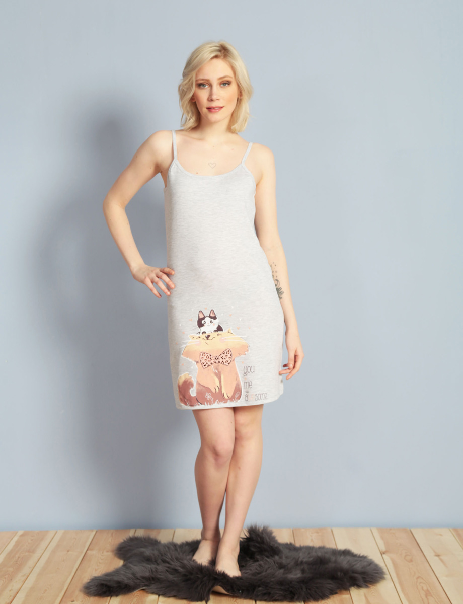 Платье домашнее Vienetta's Secret, цвет: серый меланж. 611085 0000. Размер S (44) белые сапоги купить в москве