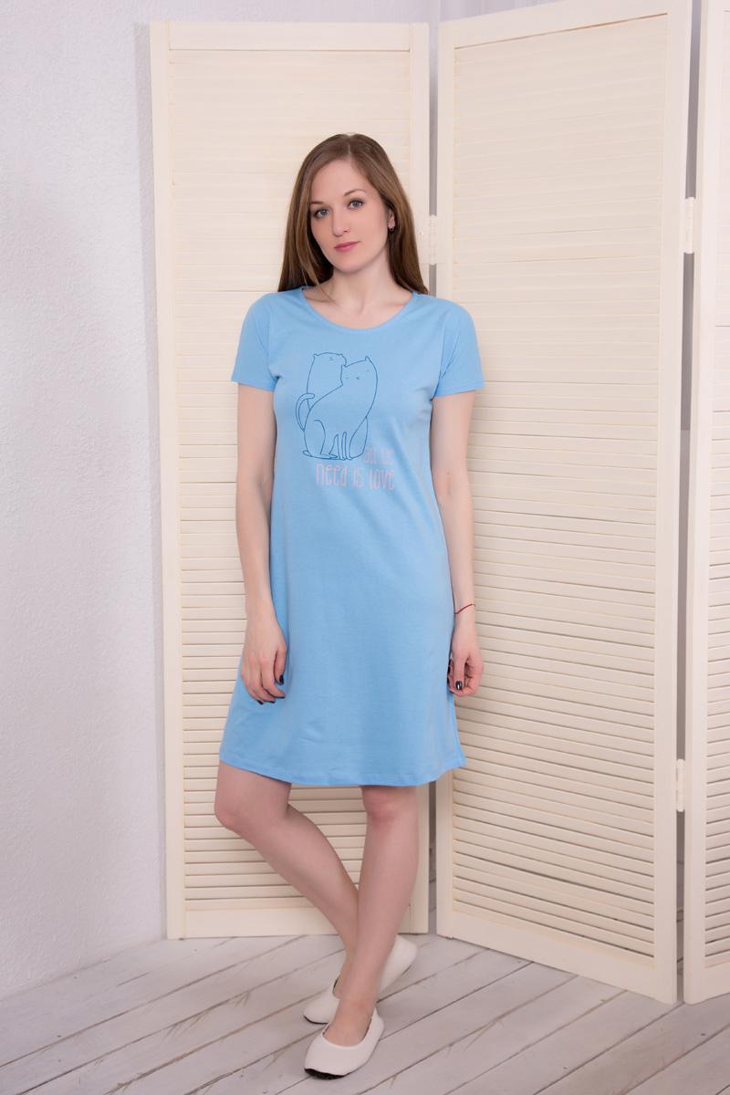 Платье домашнее Violett, цвет: голубой. 17110734. Размер XL (50)17110734Домашнее платье Violett выполнено из натурального хлопка. Платье-миди с круглым вырезом горловины и короткими рукавами оформлено стильным принтом.