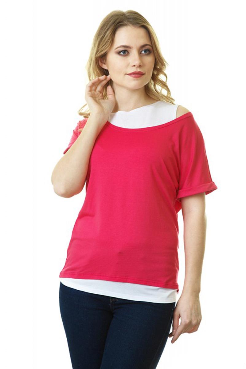 Блузка для беременных и кормящих Mum's Era Эстер, цвет: розовый, белый. 35589. Размер L (50) топ бра для беременных и кормящих intimidea premaman цвет bianco белый 110079 размер l xl 52 54