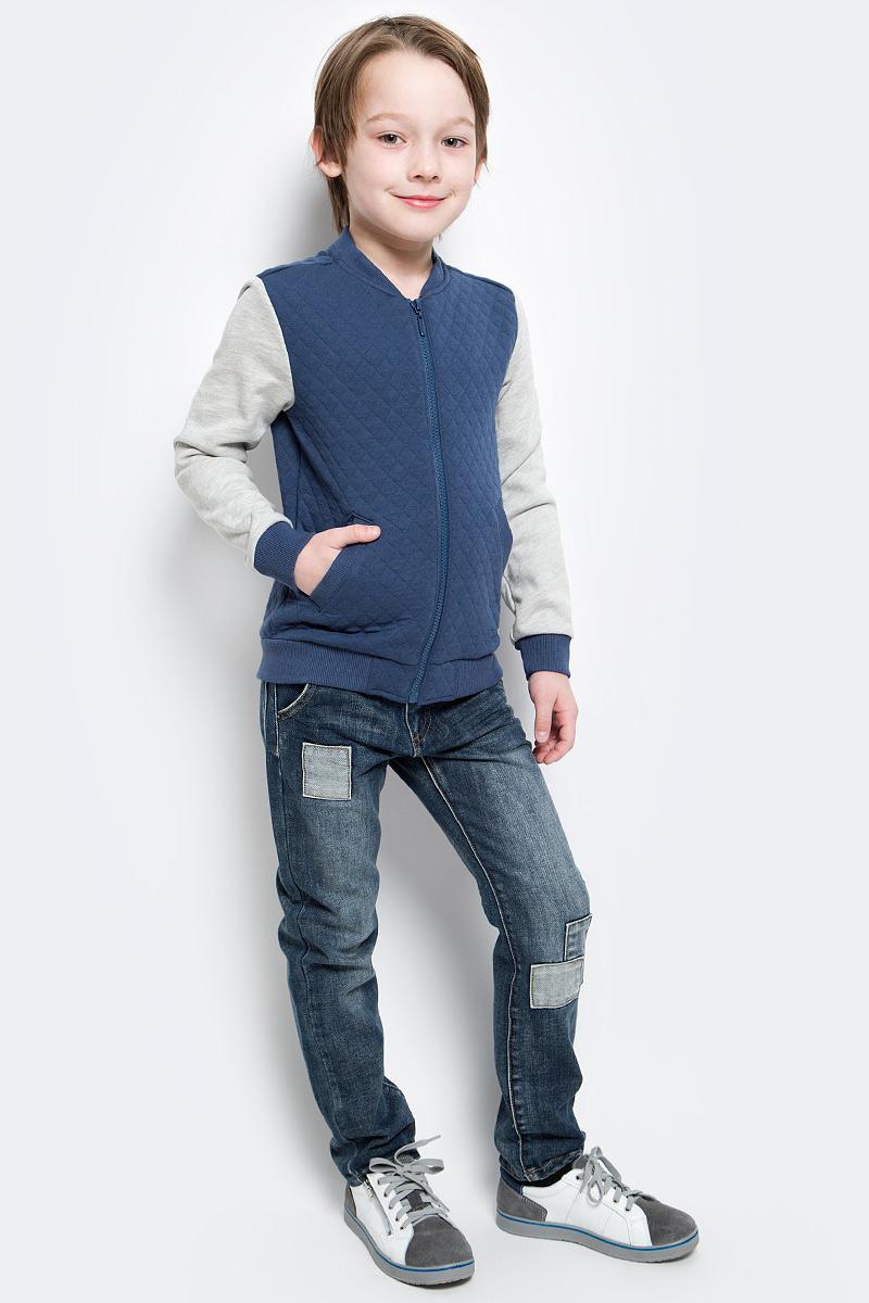 Толстовка для мальчика Button Blue Main, цвет: синий. 117BBBC16031000. Размер 158, 13 лет шапка для мальчика button blue цвет синий 217bbbx73054000 размер 52