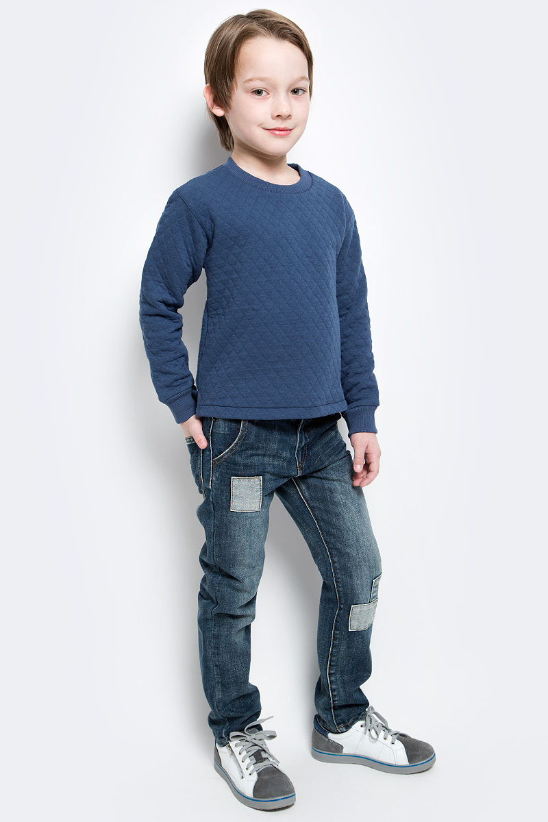 Свитшот для мальчика Button Blue Main, цвет: синий. 117BBBC16051000. Размер 98, 3 года button blue шапка для мальчика button blue