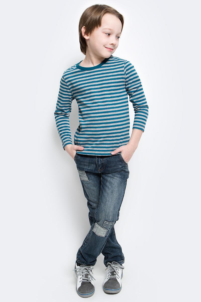 Лонгслив для мальчика Button Blue, цвет: белый, темно-бирюзовый. 216BBBC12050705. Размер 152, 12 лет216BBBC12050705Лонгслив в полоску - основная составляющая модного детского функционального гардероба. Модель с длинным рукавом выполнена из высококачественного материала.