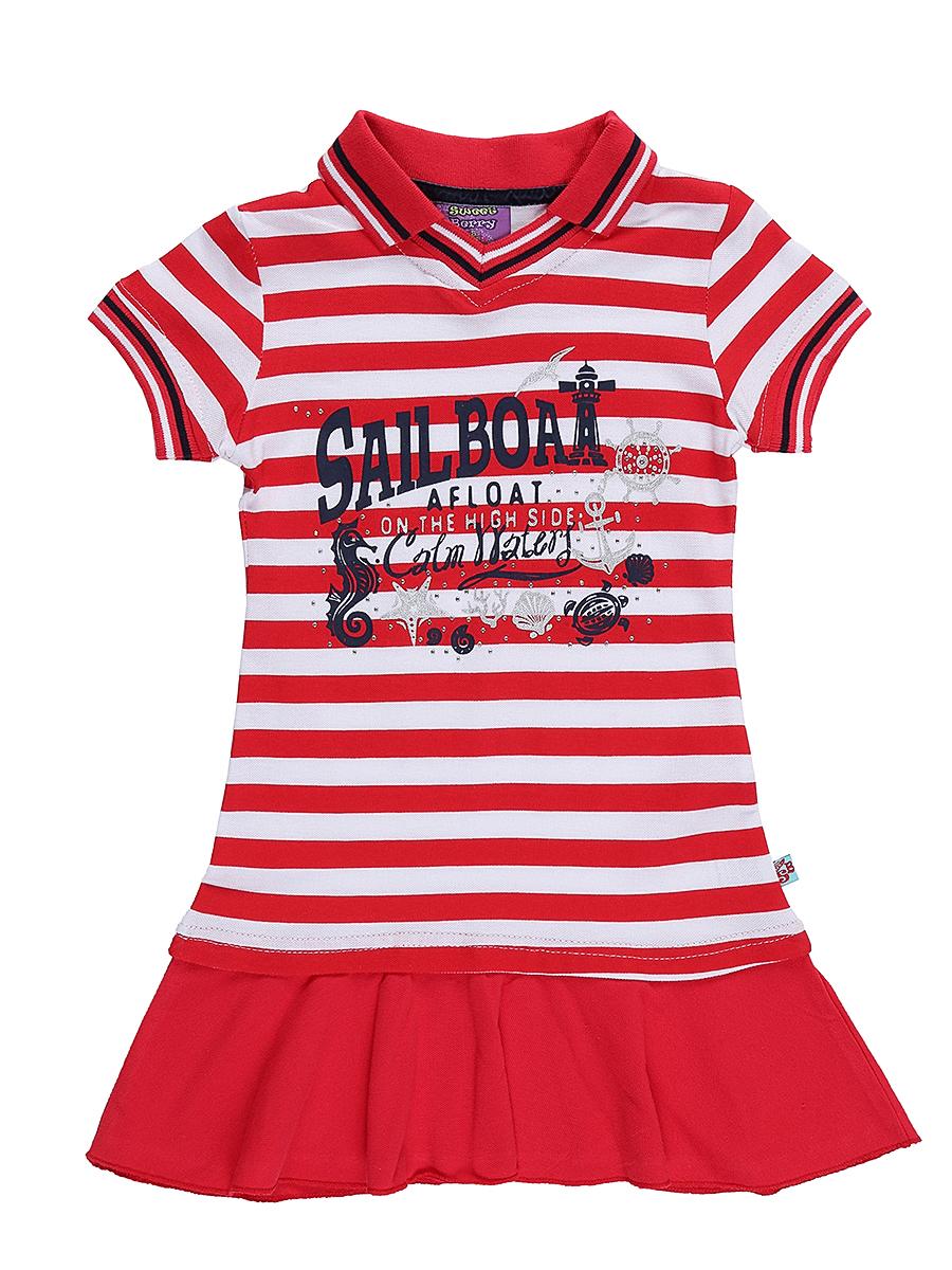 Платье для девочки Sweet Berry, цвет: белый, красный. 714091. Размер 104714091Яркое платье для девочки Sweet Berry выполнено из натурального хлопка и оформлено принтом в полоску и надписями. Модель приталенного кроя дополнена отложным воротничком и воланом по низу. Манжеты рукавов и воротничок выполнены из мягкой трикотажной резинки.
