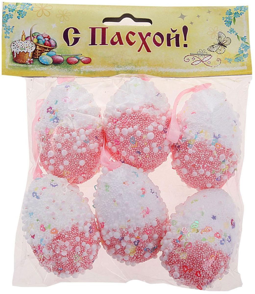Набор пасхальных подвесных украшений Sima-land Яйцо. Посыпка, 4 х 4 х 6 см, 6 шт сувенир пасхальный sima land яйцо горошек 4 х 4 х 6 см 6 шт